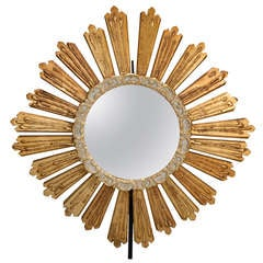 Gildwood Sunburst Convex Mirror with Painted Edge on Stand