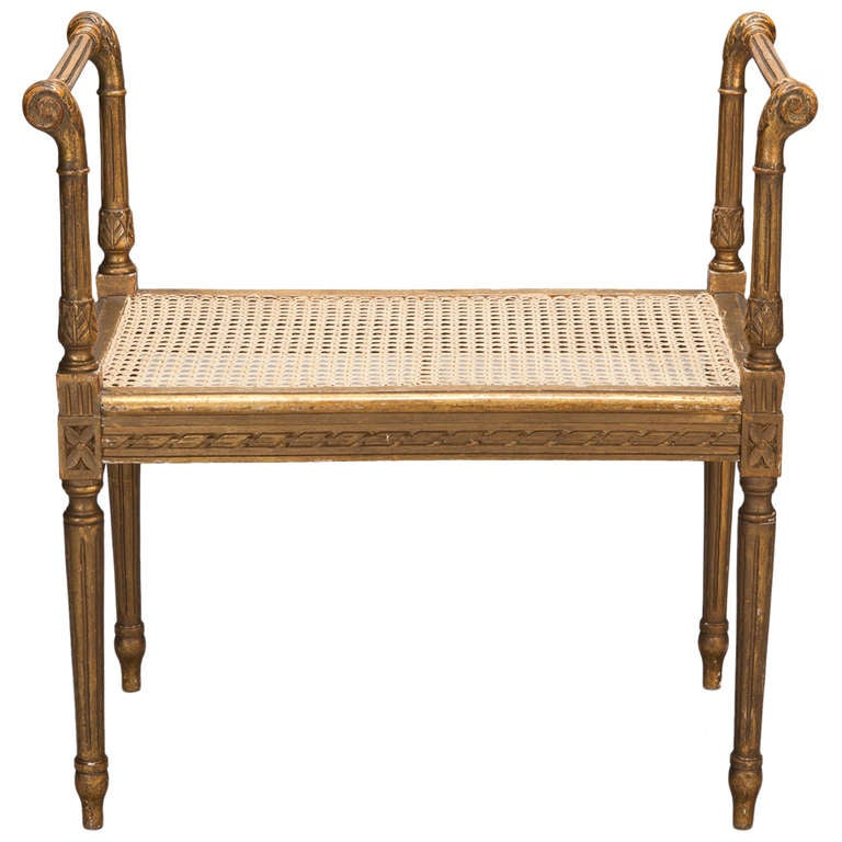French Wood Bench With High Arms And Caned Seat For Sale