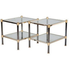 Pair Chrome Brass and Glass Side Tables with Black Enamel Legs