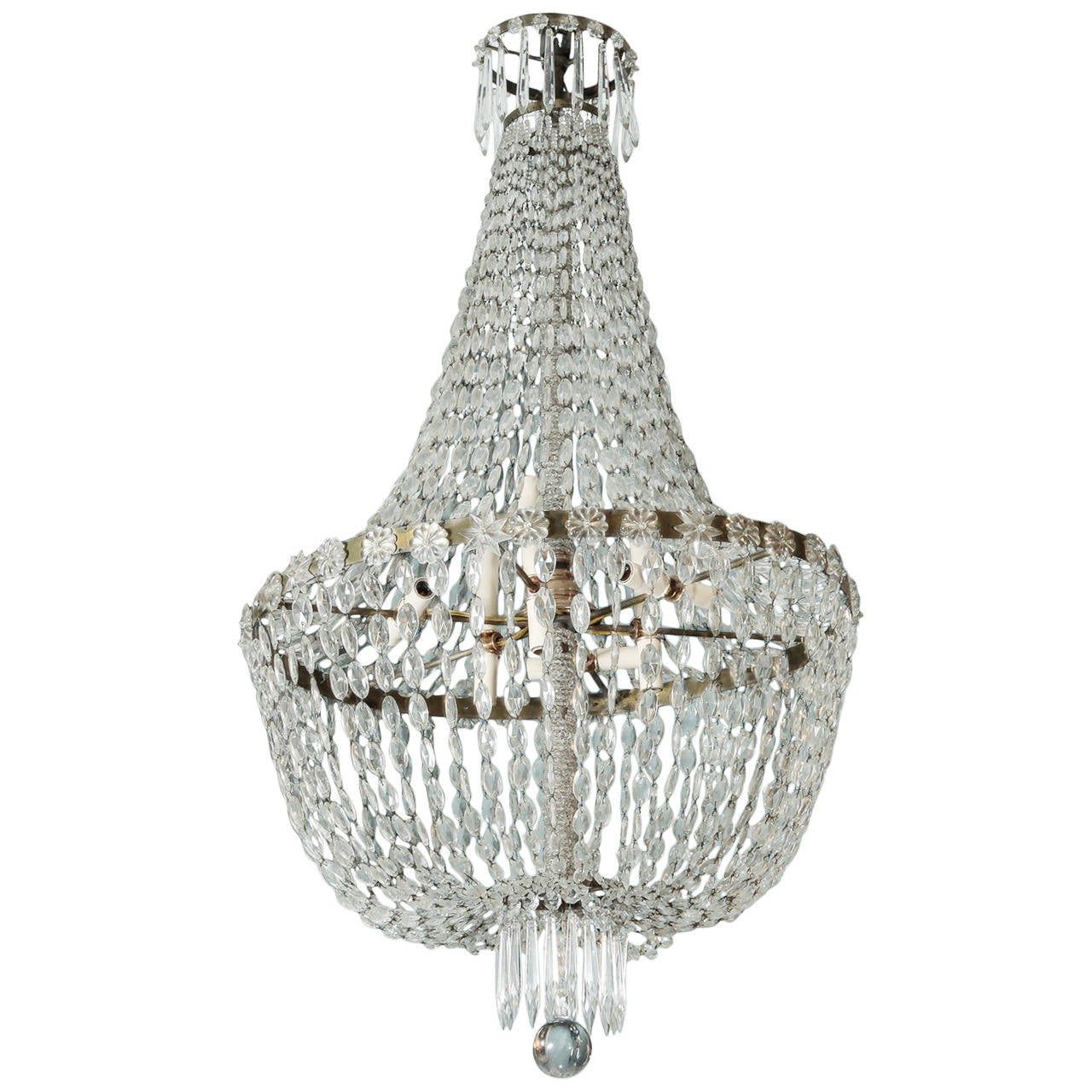 Large all crystal cascade chandelier with beaded center shaft at 1stdibs - Chandelier glass beads ...