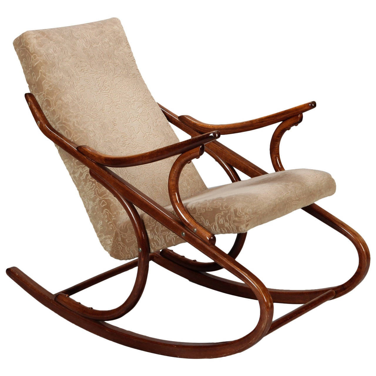 midcentury czech ton bent wood rocking chair 1