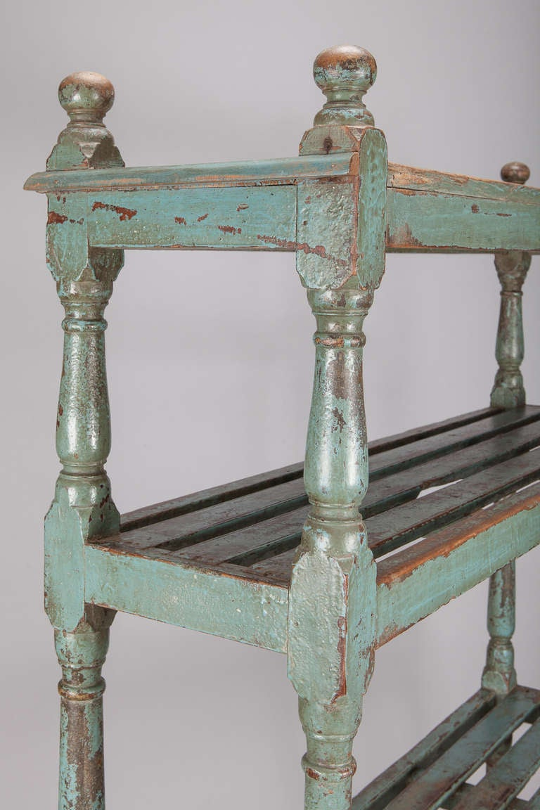 Open Shelf Deed Rack Etagere With Worn Teal Blue Paint At