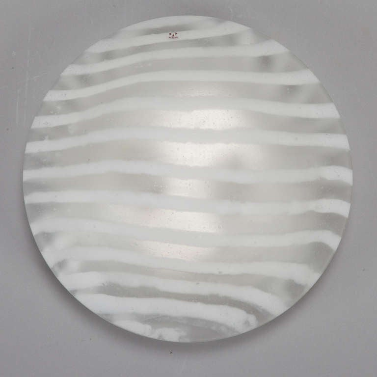 Round Flush Wall Lights : Mid Century Round Striped Glass Flush Mount or Wall Sconce at 1stdibs