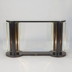 French Art Deco Console with Light Up Supports and Glass Inserts