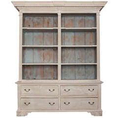 19th Century Blue and Gray Scottish Open Shelf Bookcase