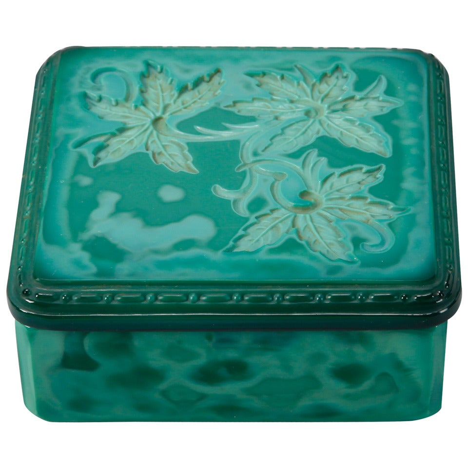Czech Square Malachite Glass Box