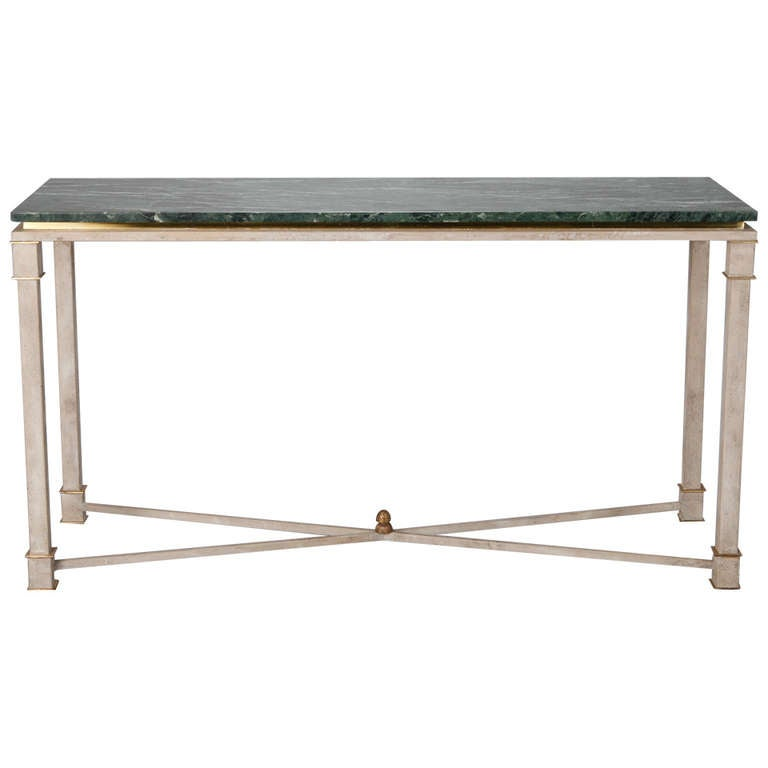 White Painted Directoire Style Console With Green Marble