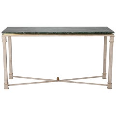 White Painted Directoire Style Console with Green Marble Top