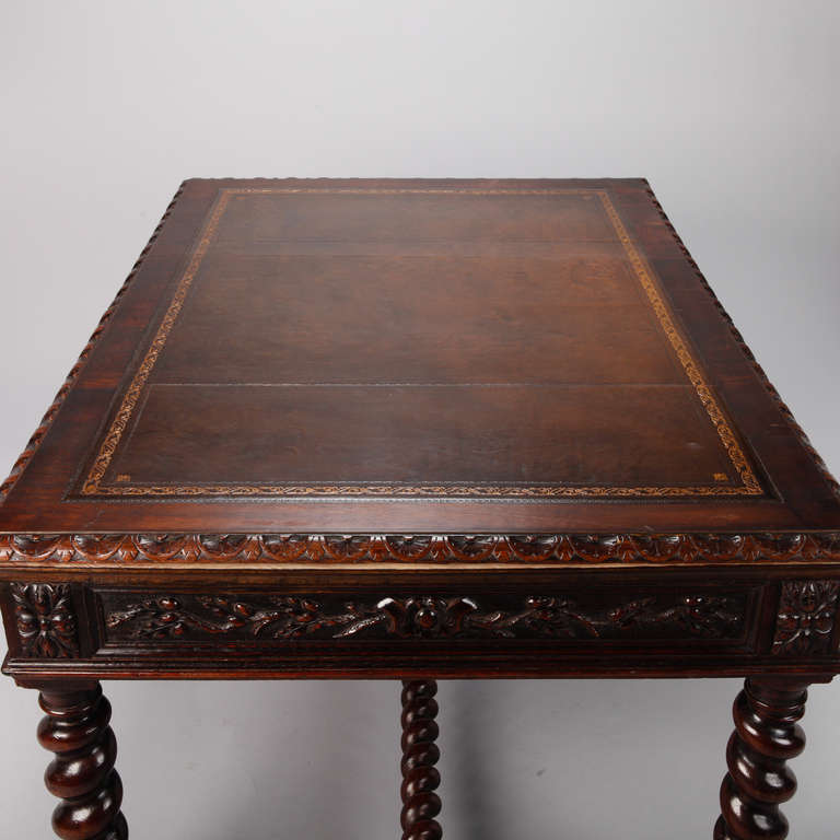 Dutch Highly Carved Oak Desk With Leather Top At 1stdibs