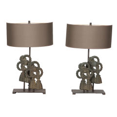 Pair of Custom Designed Iron Bow Lamps
