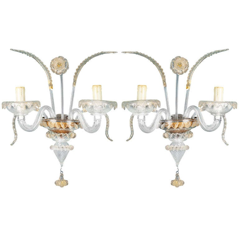 Venetian Glass Wall Lights : Pair of Murano Glass Venetian Style Two Arm Sconces at 1stdibs