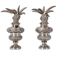 Pair of Tall Silver Plated Decorative Finials