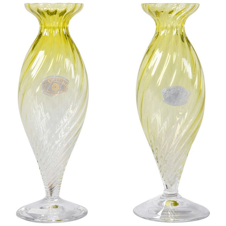 Pair of Midcentury Chartreuse Val Saint Lambert Glass Vases