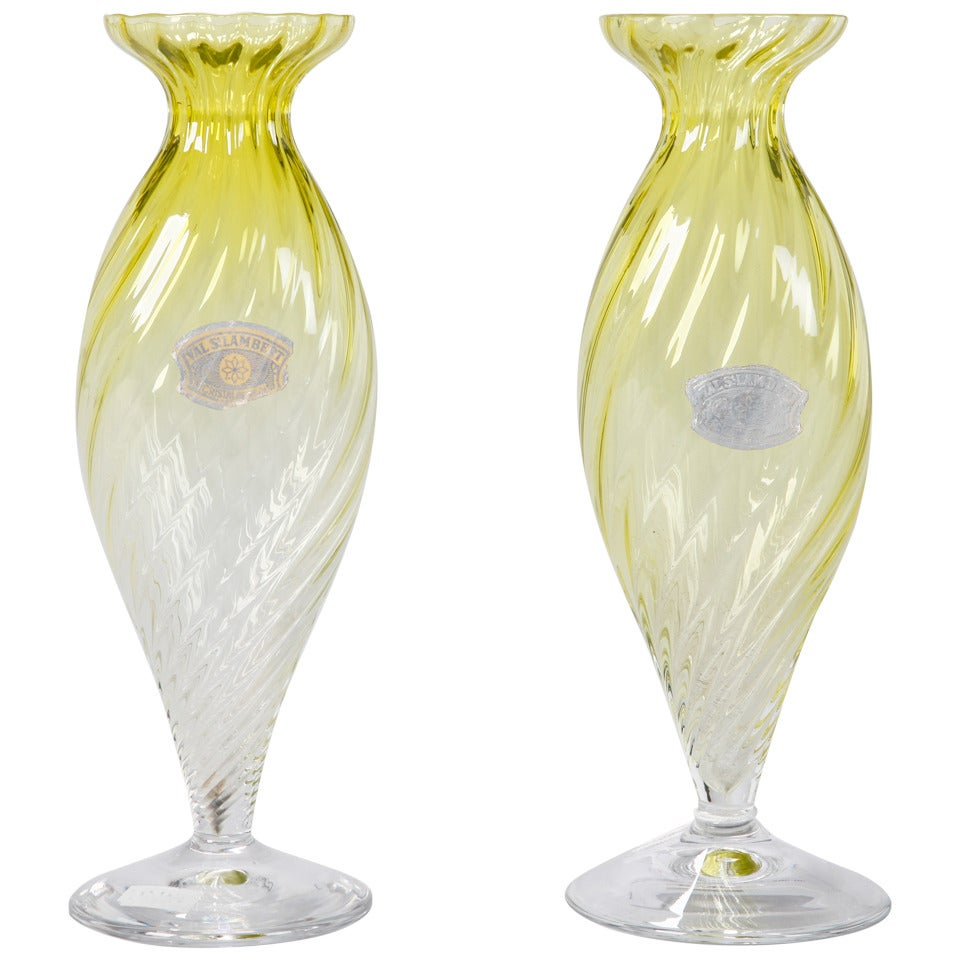 Pair of Midcentury Chartreuse Val Saint Lambert Glass Vases