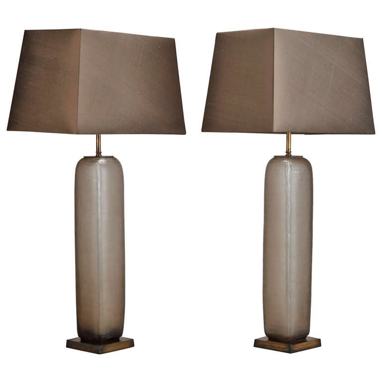 Pair Mid Century Tall Taupe Etched Glass Table Lamps For Sale