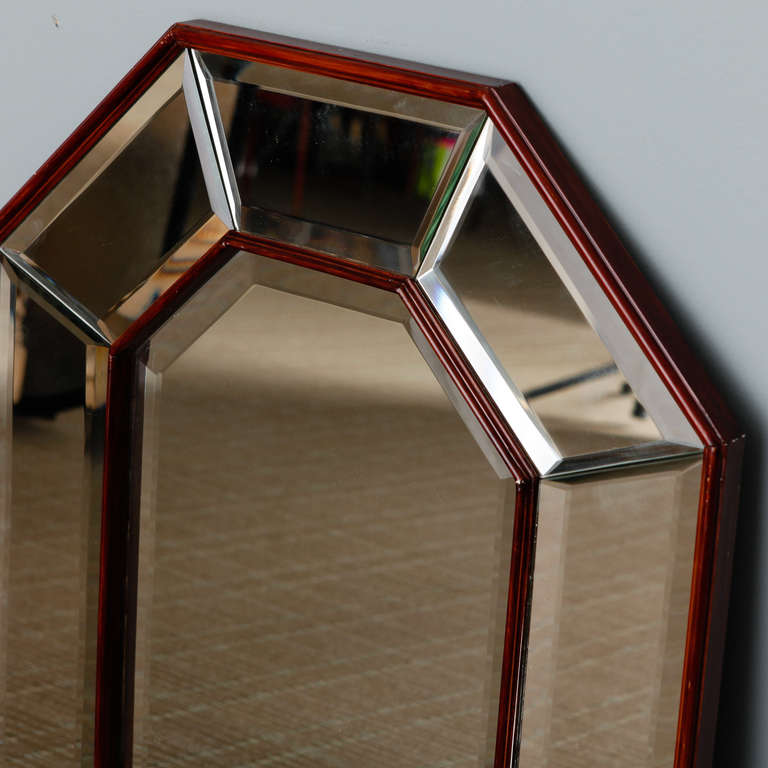 Art deco octagonal shape mirror with wood frame at 1stdibs for Octagon beveled mirror