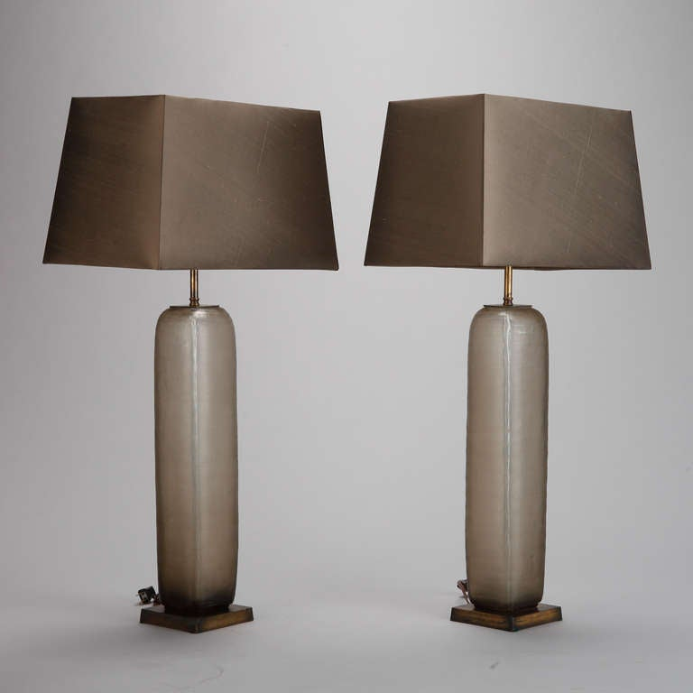 Pair mid century tall taupe etched glass table lamps at 1stdibs circa 1960s tall taupe glass table lamps on brass bases with custom made silk shades keyboard keysfo Images
