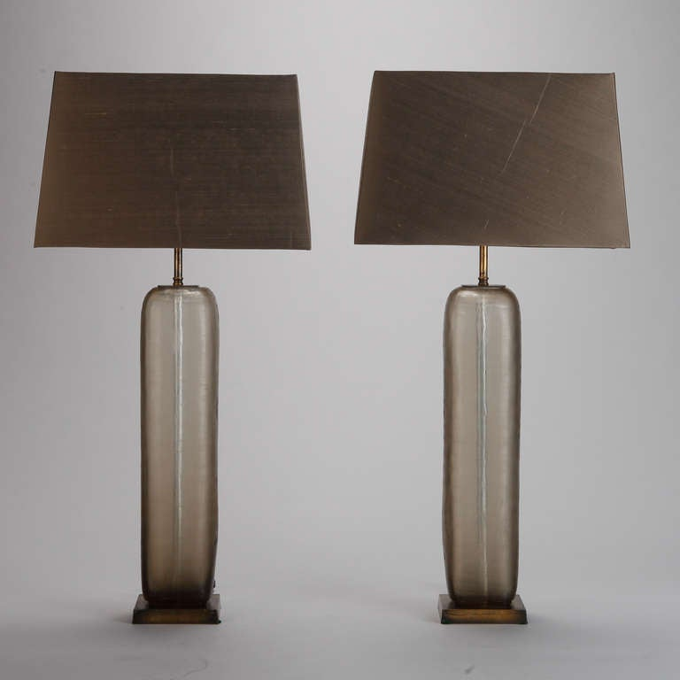pair mid century tall taupe etched glass table lamps at