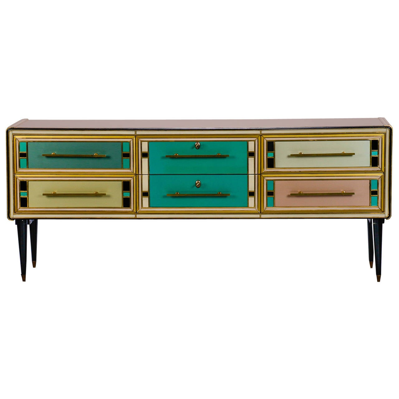 Sideboard with Multicolor Murano Glass Panels Attributed to ...