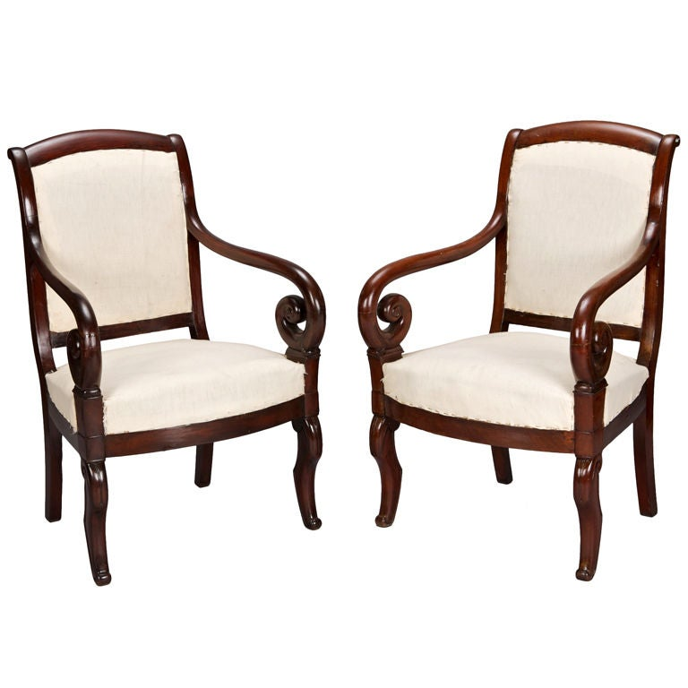 Pair Louis Philiipe Straight Back Arm Chairs At 1stdibs