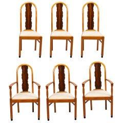 Set of 6 Art Deco Macassar Satinwood Ebony Chairs