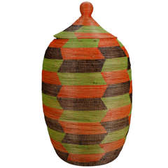 Tall Colorful Hand Woven Lidded Basket from Senegal