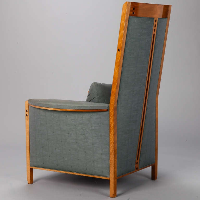 Mackintosh style chair and stool in teal fabric at 1stdibs for Teal chairs for sale