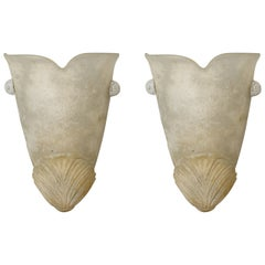 Pair of off White Urn Shape Murano Glass Sconces