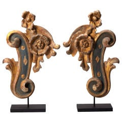 Pair Gilded Architectural Fragments on Custom Stands