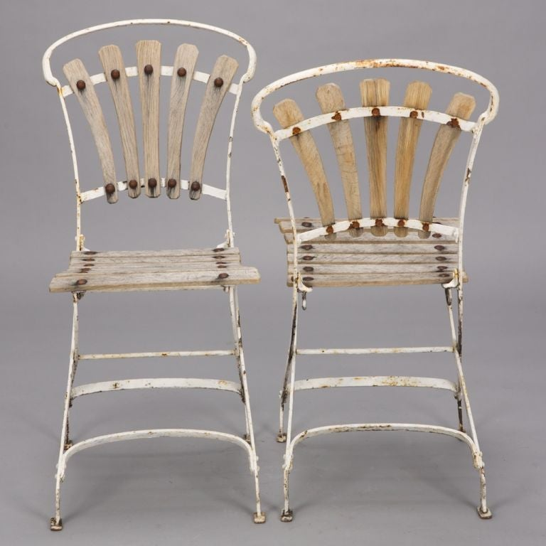 Outdoor Metal Furniture For Sale: Set Of 4 English Garden Wood And Metal Chairs For Sale At