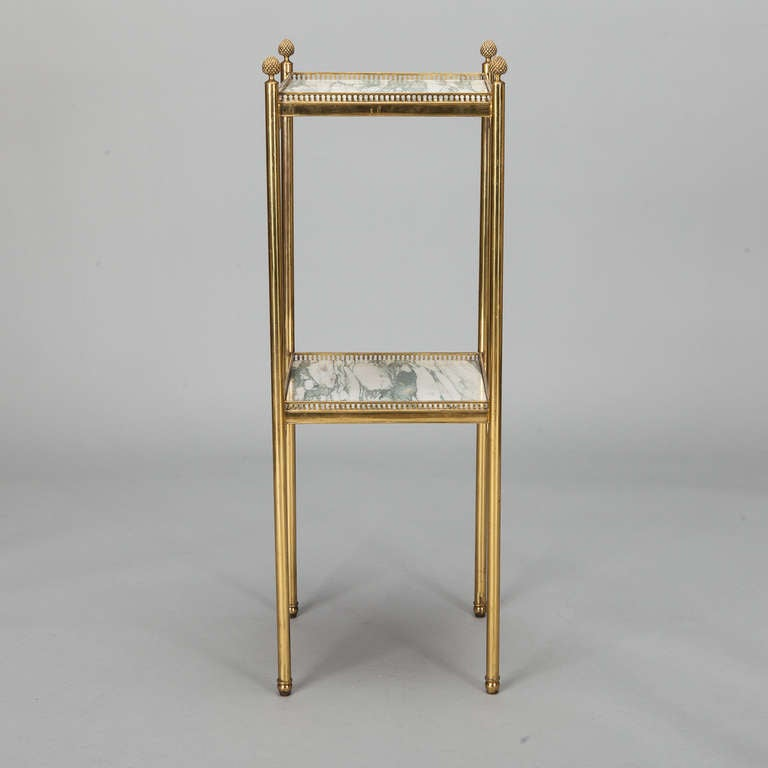 Mid Century Italian Neoclassic Marble and Brass Side Table In Good Condition For Sale In Troy, MI