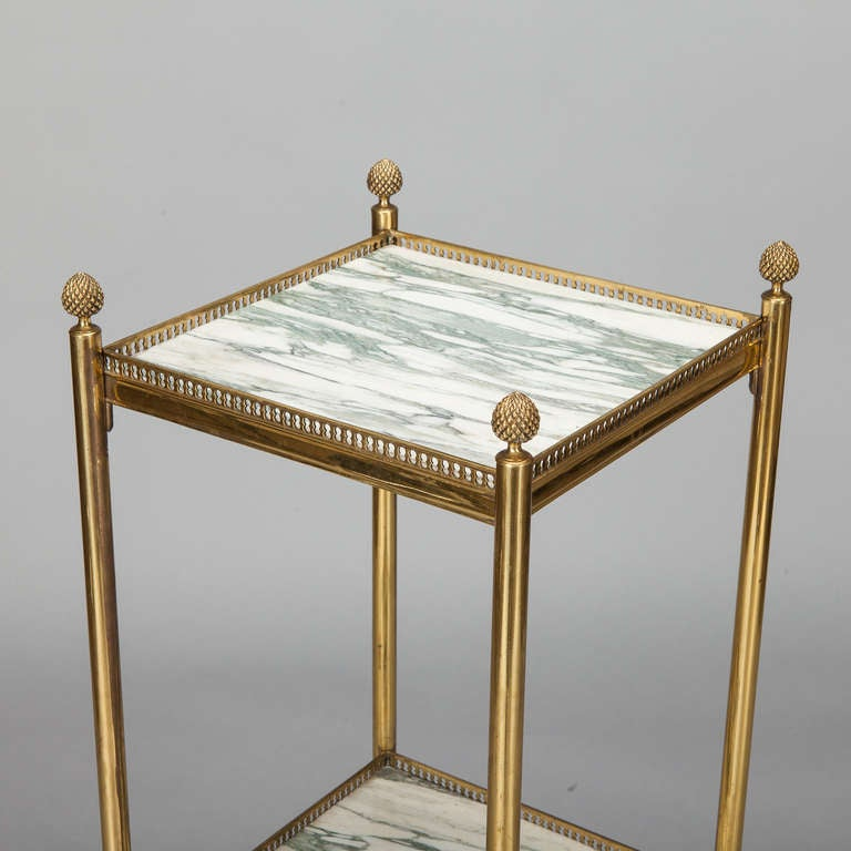 Mid-20th Century Mid Century Italian Neoclassic Marble and Brass Side Table For Sale