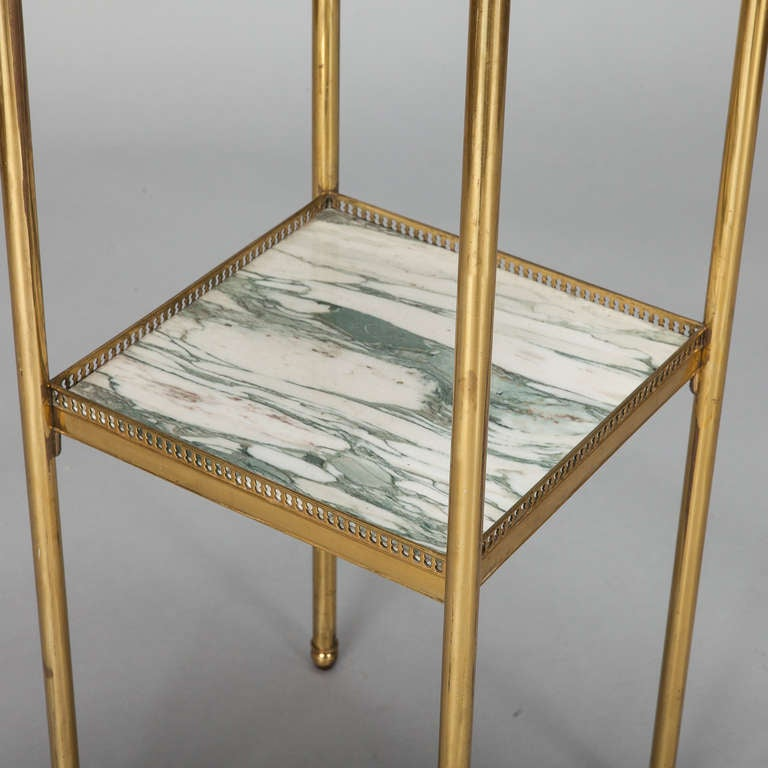 Mid Century Italian Neoclassic Marble and Brass Side Table For Sale 1