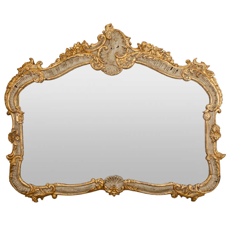 Horizontal Louis Xv Style Cream And Parcel Gilt Mirror At