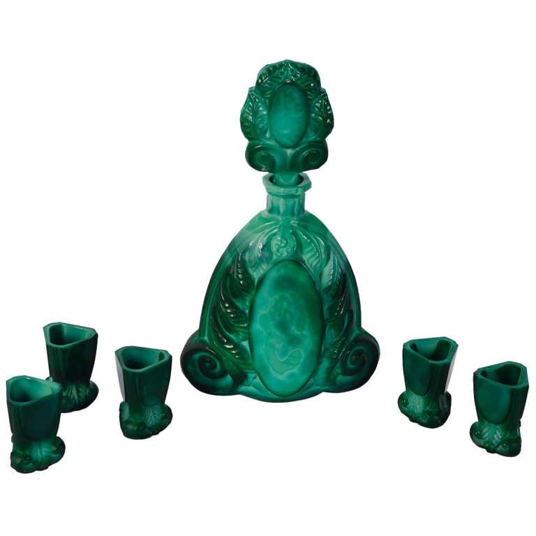 Art Deco Bohemian Malachite Glass Decanter Set 1