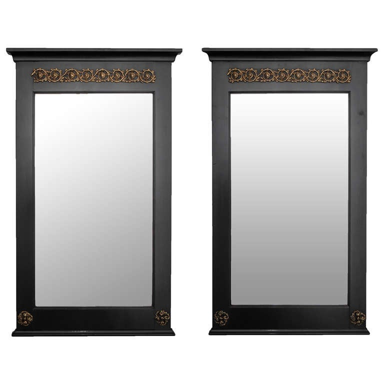 Pair of Empire Style Ebonized Mirrors with Brass Mounts