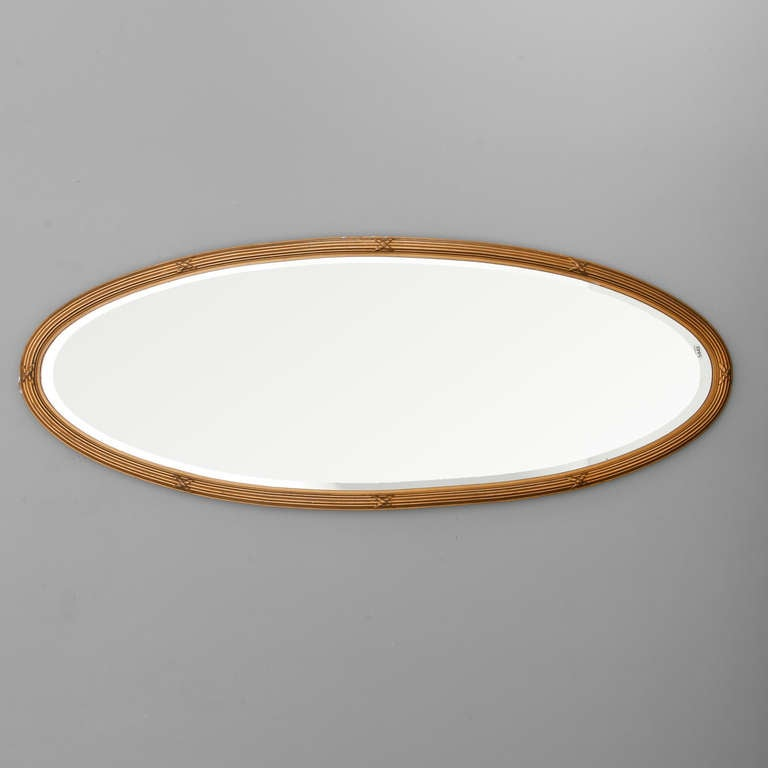French narrow oval gilded mirror with beveled glass at 1stdibs for Long glass mirror