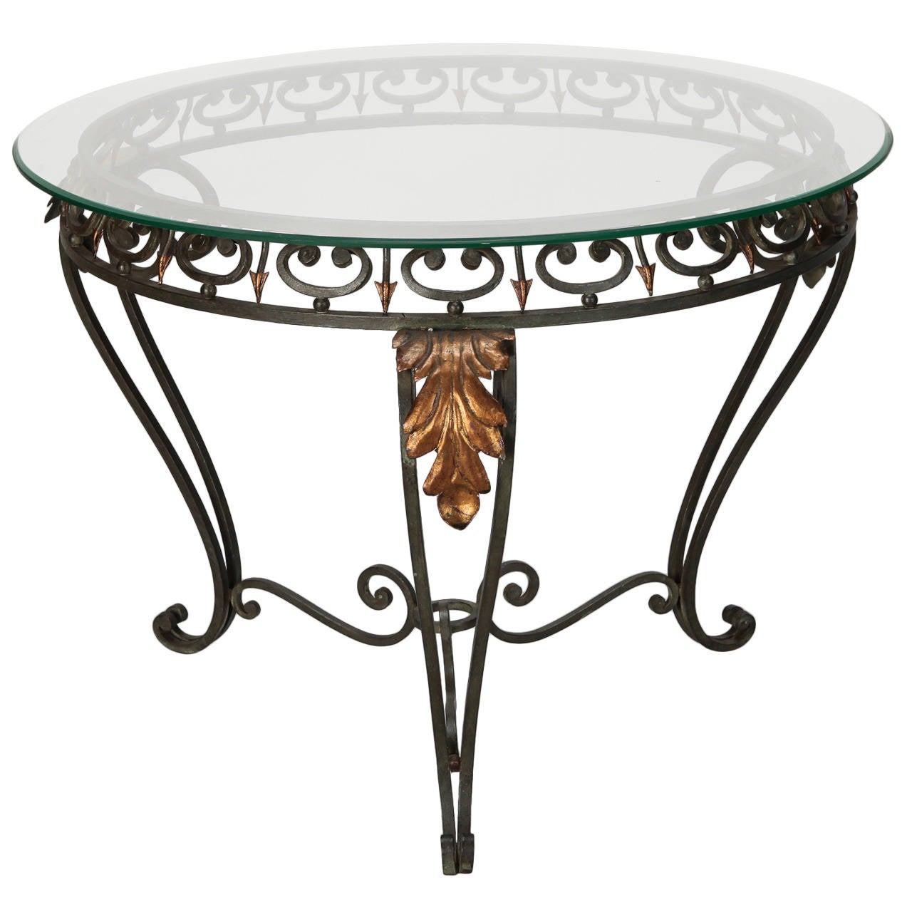 Italian Glass Top Table With Green Iron Frame And Gilt Metal Leaves For Sale At 1stdibs