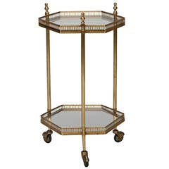 Small Mid Century Glass and Brass Two Tier Drinks Trolley