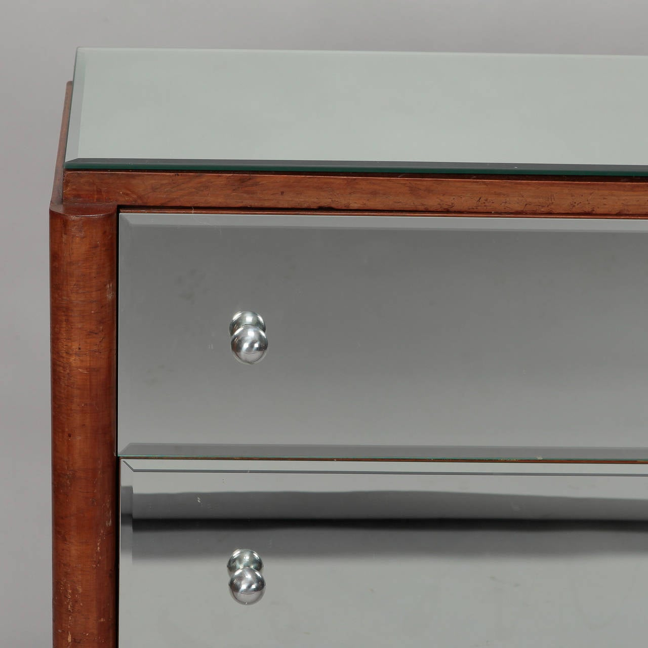 Art Deco Era Mirrored Walnut Chest of Drawers In Good Condition In Troy, MI