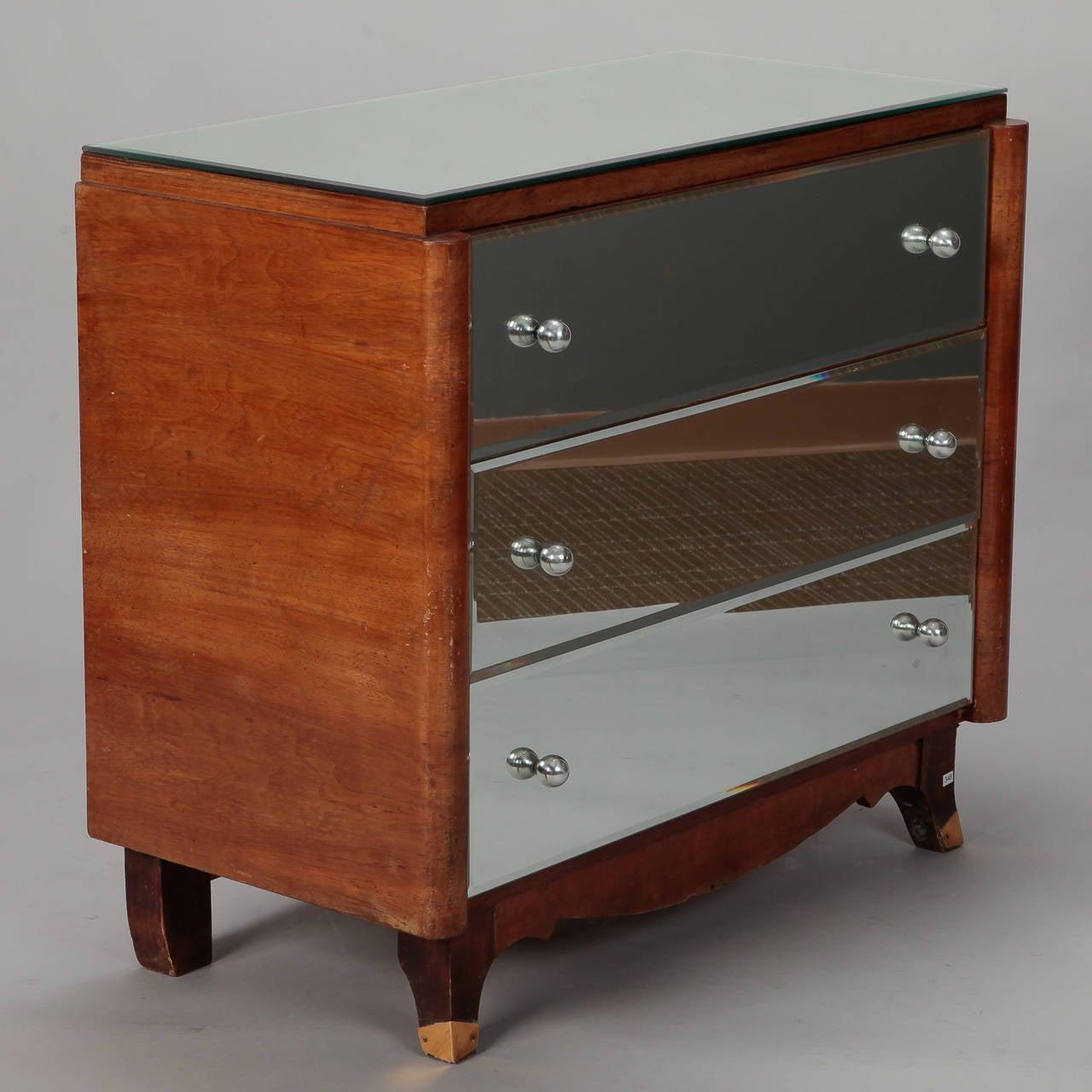 Brass Art Deco Era Mirrored Walnut Chest of Drawers