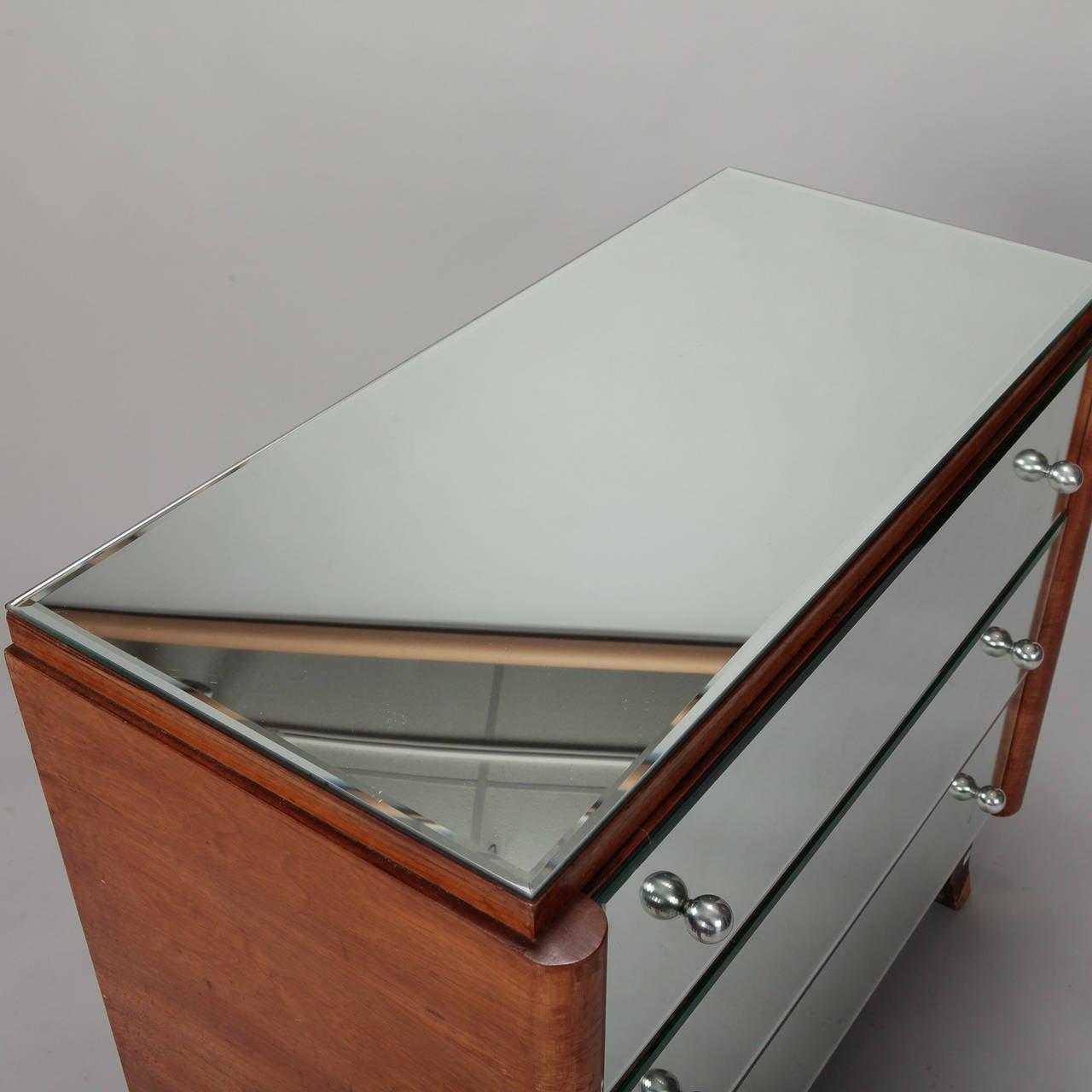 European Art Deco Era Mirrored Walnut Chest of Drawers