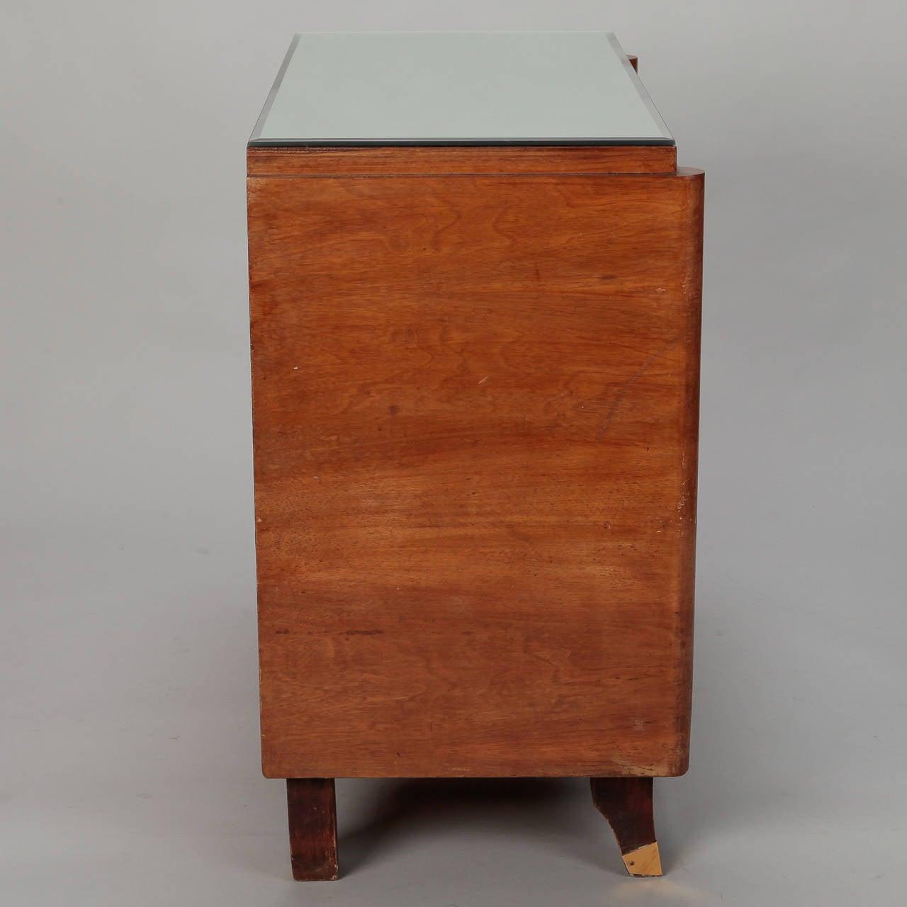 Mid-20th Century Art Deco Era Mirrored Walnut Chest of Drawers