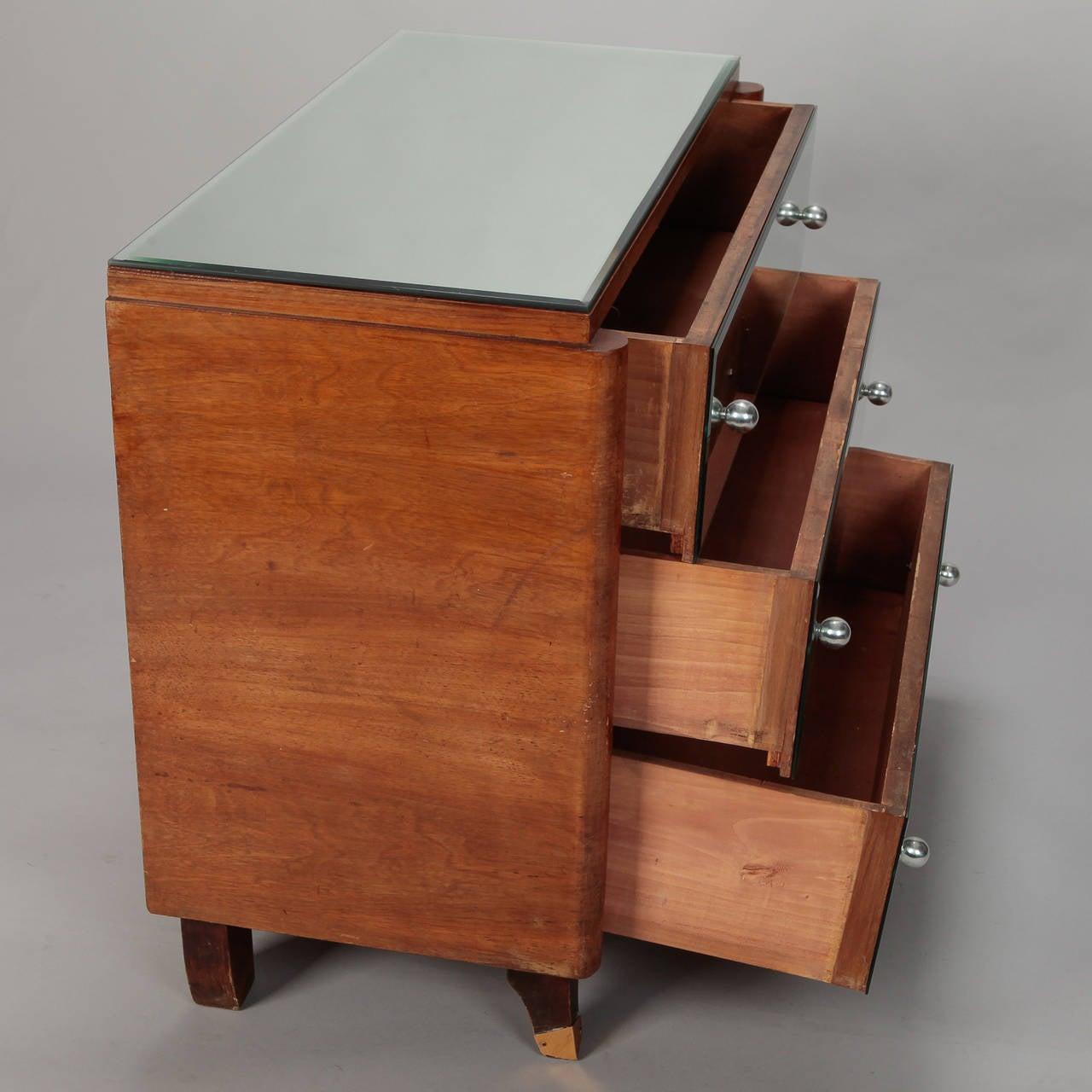 Art Deco Era Mirrored Walnut Chest of Drawers 1