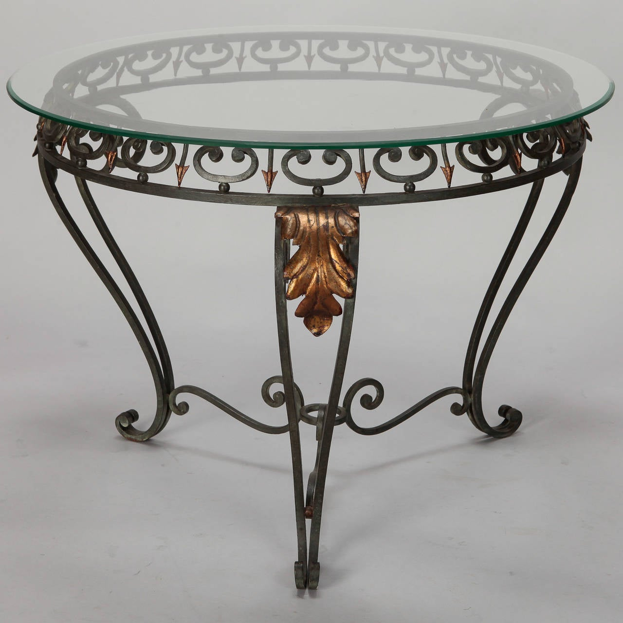 Italian glass top table with green iron frame and gilt for Metal frame glass coffee table