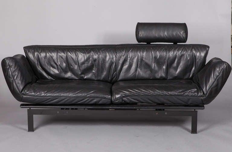 Mid Century Black Leather De Sede Ds 140 Adjustable Sofa