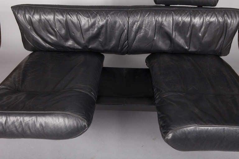 Mid Century Black Leather De Sede DS-140 Adjustable Sofa