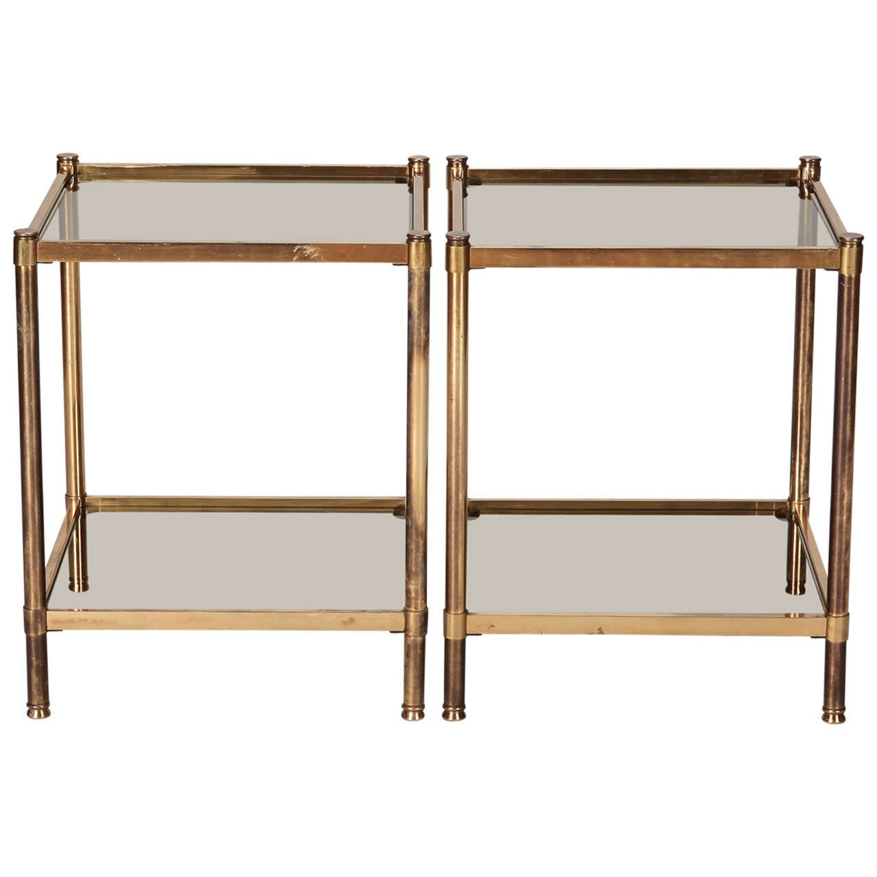 Pair of Italian Mid Century Brass and Glass Square Tables