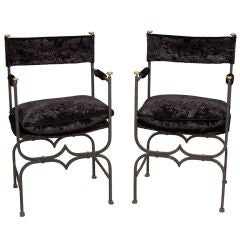 Pair French Empire Style Iron and Velvet Chairs