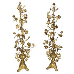 Pair Four Foot Tall Brass Candlesticks with Grapes Vines